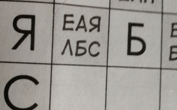 Я один только одно слово могу составить Кроссворд, Буквы