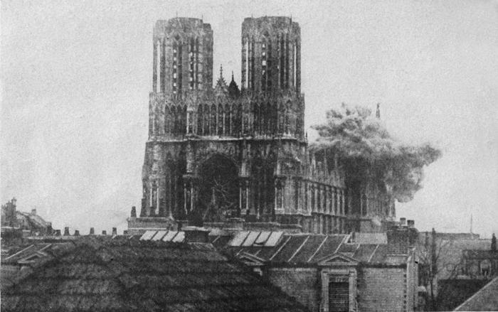 Взрыв бомбы в Реймсском Нотрдам, 20 сентября 1914 года, Реймс Notre Dame De Paris, Взрыв, Фотография, Собор