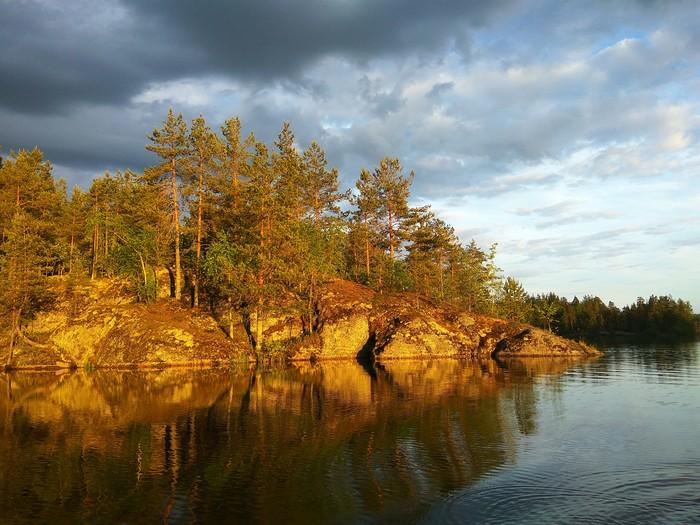 На озере в Карелии Фотография, Красота природы, Природа, Карелия, Озеро, Закат, Отражение