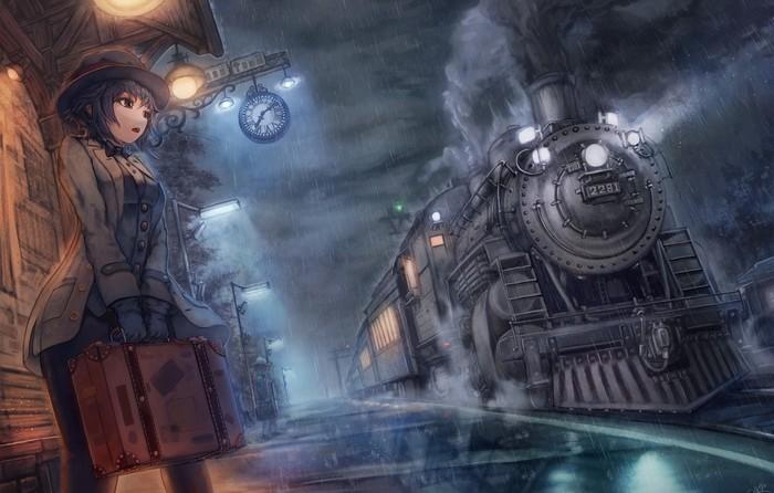 Девушка перед прибытием поезда