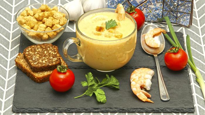 Сливочный крем-суп с морепродуктами. Суп, Видео рецепт, Крем-Суп, Морепродукты, Рыба, Кулинария, Видео, Длиннопост, Креветки