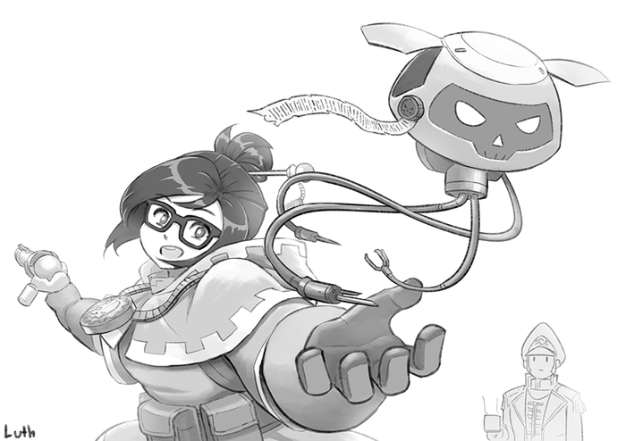 Overwatch Mei as techpriest with Cain in the background Lutherniel, Ciaphas Cain, Mei Overwatch, Overwatch, Warhammer 40k, Crossover, Игры, Арт