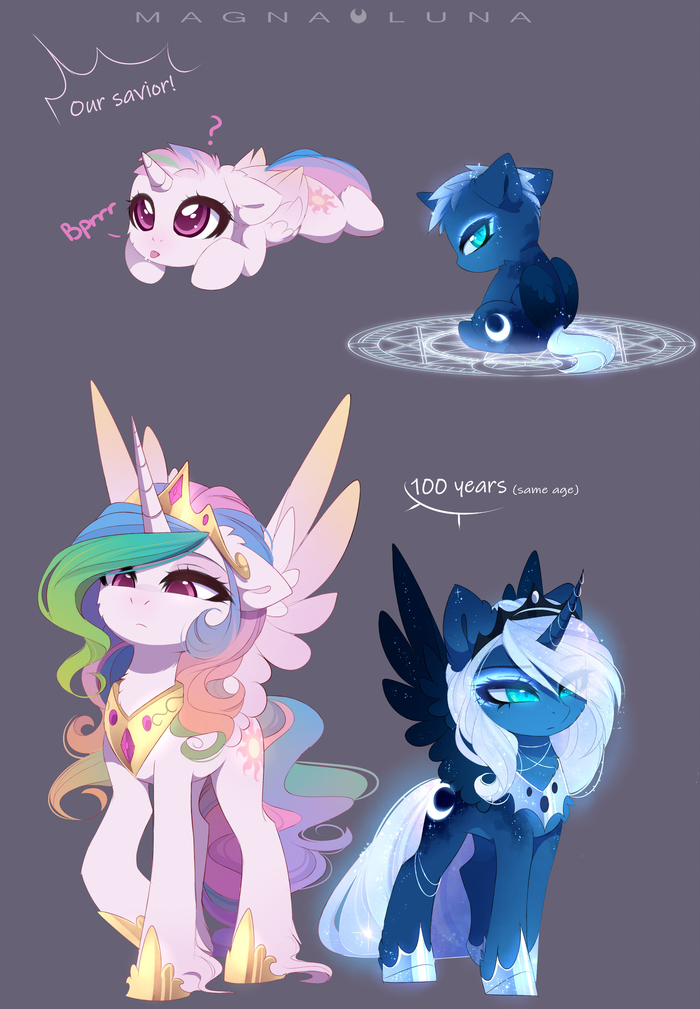 Young Tyrants My Little Pony, Princess Celestia, Princess Luna, Magnaluna