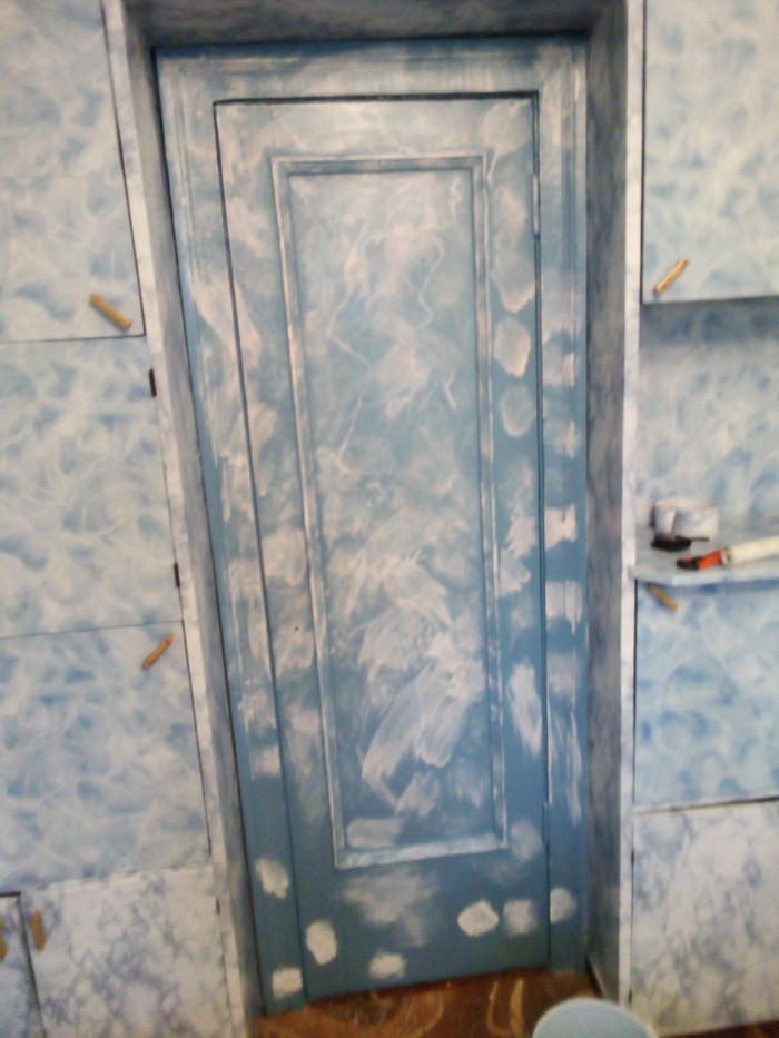 Покраска старой двери Имитация, Мрамор, Ремонт, Дверь, Покраска, Длиннопост
