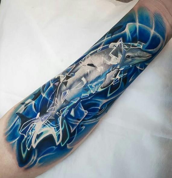 Дельфин тату Дельфин, Тату, Неон, Лига любителей татуировки, Видео, Длиннопост