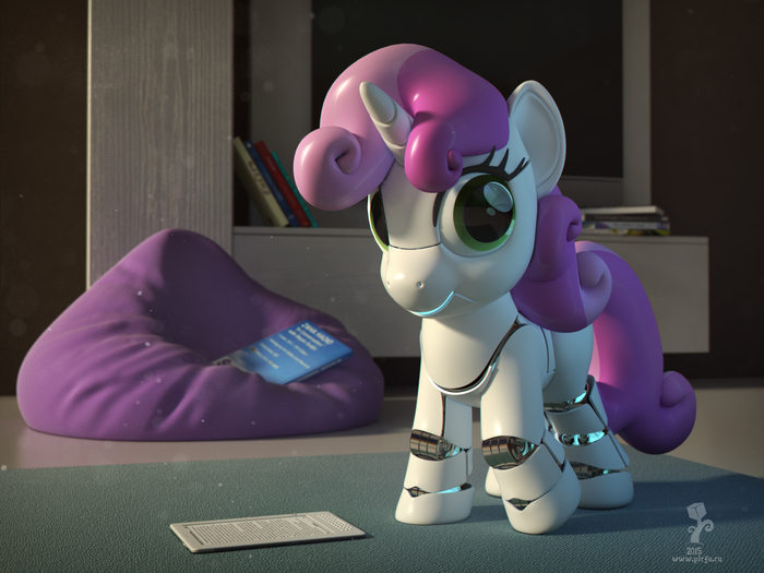 Свити бот 3D, 3ds max, Vray, Render, My Little Pony, Sweetie Belle, Sweetie Bot, Robotpony