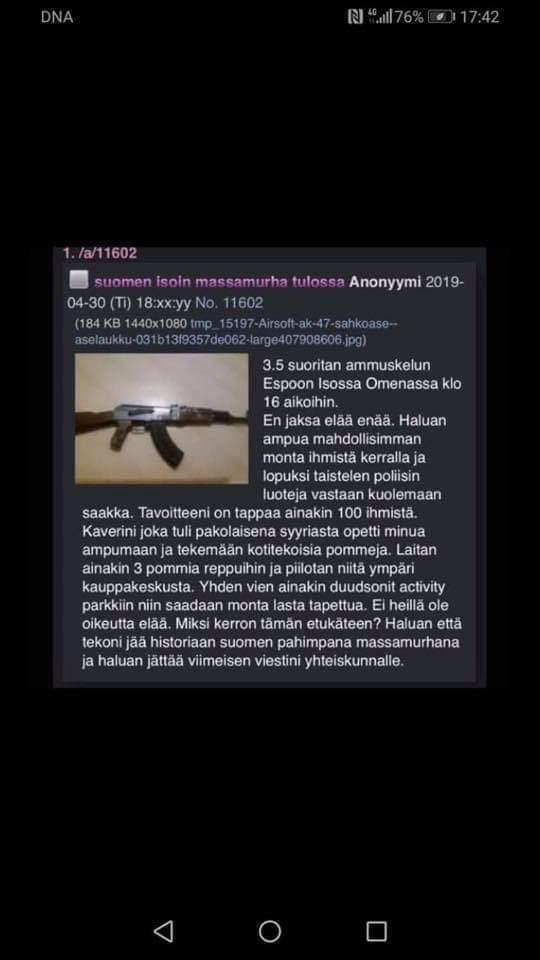 Предупреждение о теракте в Iso Omena (Эспоо, Финляндия) Финляндия, Теракт, Терроризм, Торговый центр, Зло
