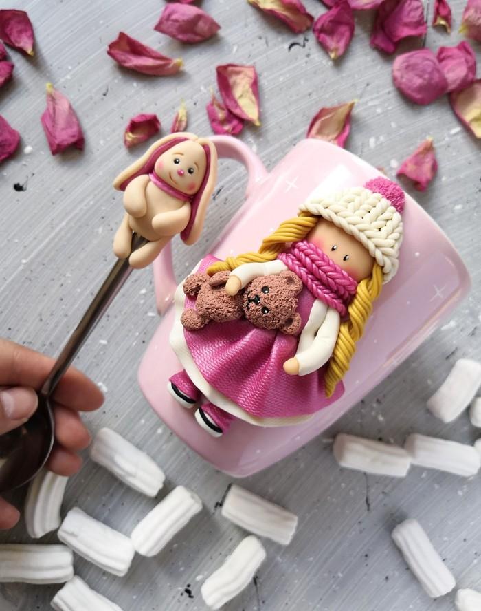 Декор кружки: Милая девочка Кружка с декором, Полимерная глина, Рукоделие без процесса, Ручная работа, Длиннопост