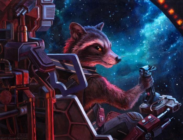 Space Trash Фурри, Енот Ракета, Kenket, Космос, Стражи Галактики, Традиционный арт, Marvel