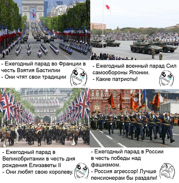 Двойные стандарты о военных парадах