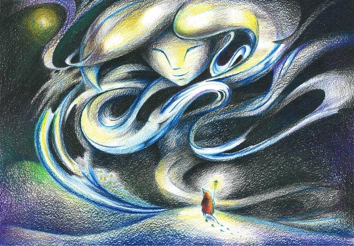 Метель + пара фото этапов. Иллюстрации, Цветные карандаши, Арт, Ночь, Зима, Метель, Длиннопост, Рисунок, Сказка