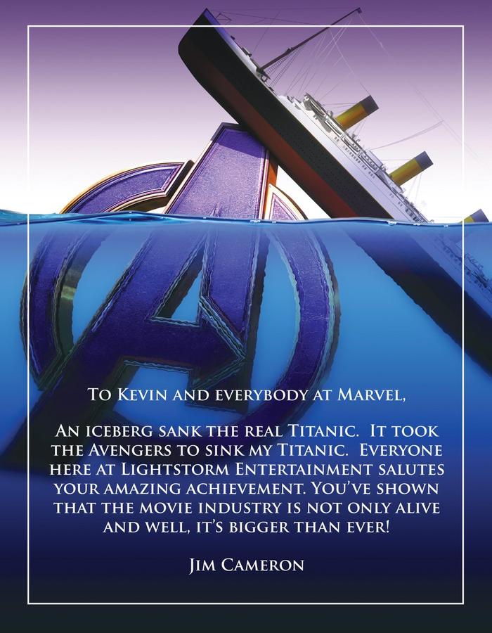 Режиссёр «Титаника» поздравил «Мстителей» с потоплением своего фильма Титаник, Мстители: Финал, Джеймс Кэмерон, Twitter