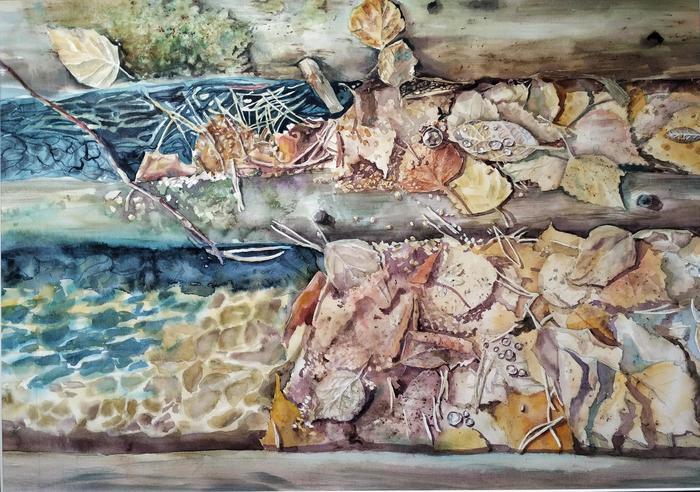 Родник в лесу. 38*55 Акварель Акварель, Арт, Живопись, Вода, Бурятия, Творчество, Родник, Рисунок