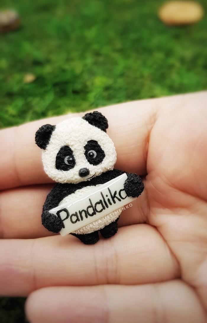 Панда брошь Творчество, Ручная работа, Панда, Рукоделие без процесса, Брошь, Полимерная глина, Длиннопост