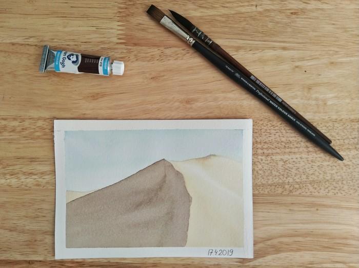 Пустыня акварелью. Минимализм Акварель, Минимализм, Учусь рисовать, Пейзаж, Длиннопост, Рисунок, Пустыня