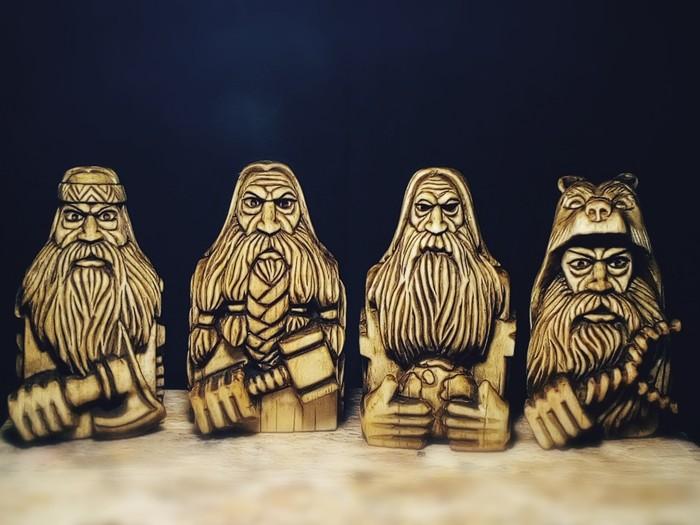 Славянские боги ПЕРУН, СВАРОГ, РОД, ВЕЛЕС. Материал липа. Высота 12см. Резьба по дереву, Славянская мифология, Длиннопост