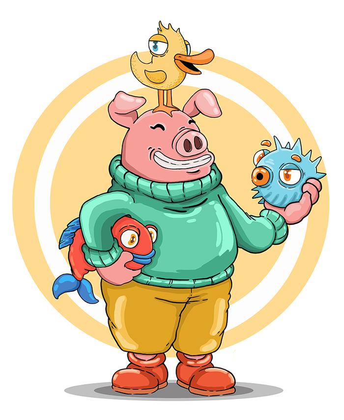 Свин и его банда Бобёр рисует, Рисунок, Photoshop, Цифровой рисунок, Скетч, Мультяшный стиль, Свинья, Антро