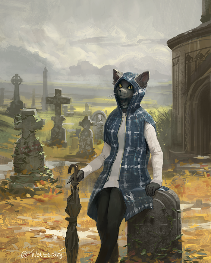 The Glasgow Necropolis Фурри, Furry Art, Furry Feline, Furry Cat, Некрополь, Глазго, Strange-Fox
