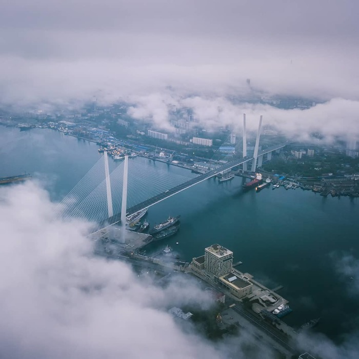 Владивосток Золотой мост Владивосток, Мост, Золотой мост, Золотой рог, Корабль, Облака, Погода, Фотография