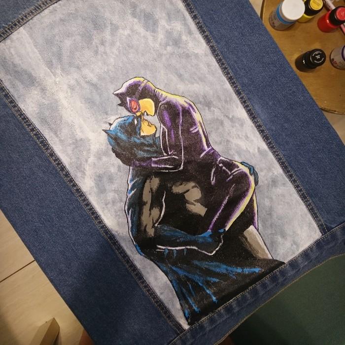 Джинсовка для супруги кошки-мышки)) Роспись по ткани, Творчество, Бэтмен, Длиннопост