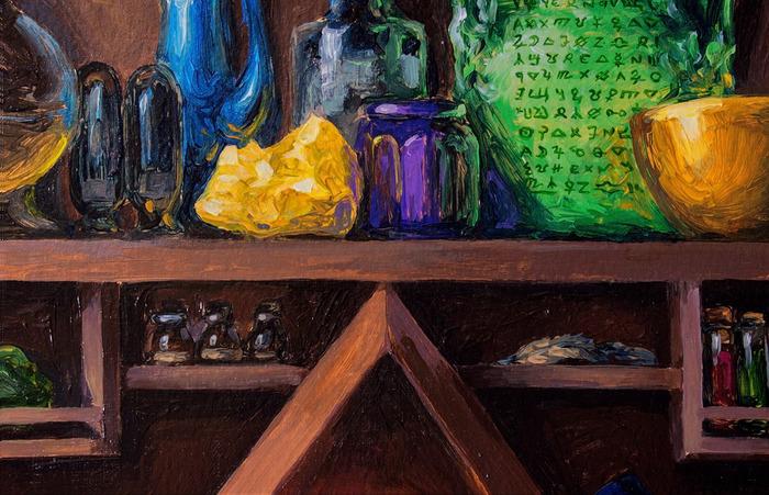 В лаборатории алхимика (акрил, бумага) Живопись, Акрил, Картина, Лаборатория, Алхимия, Герметизм, Эзотерика, Натюрморт, Длиннопост