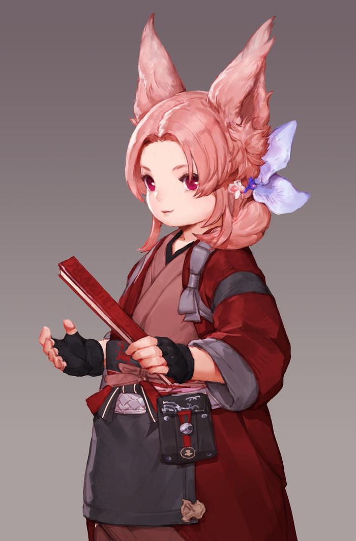 Lalafell Anime Art, Animal Ears, Аниме, Большие ушки, Девочка, Кимоно, Kawaii!, Cute Girl