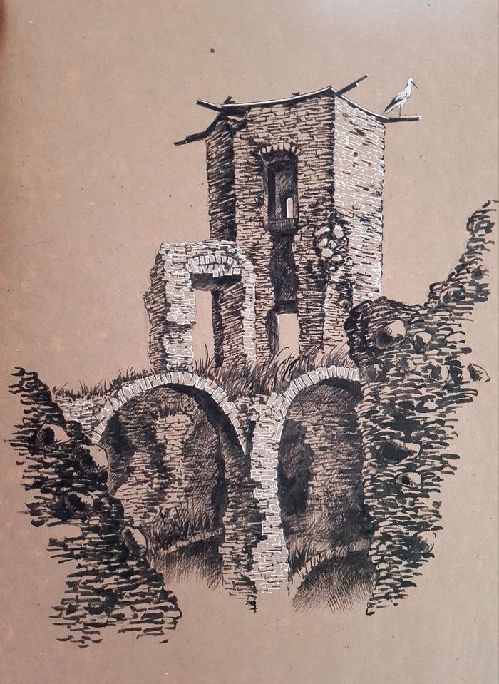 Руины замка в Гольшанах Рисунок, Рисунок карандашом, Замок, Гольшаны, Арт, Скетч, Руины, Пленэр