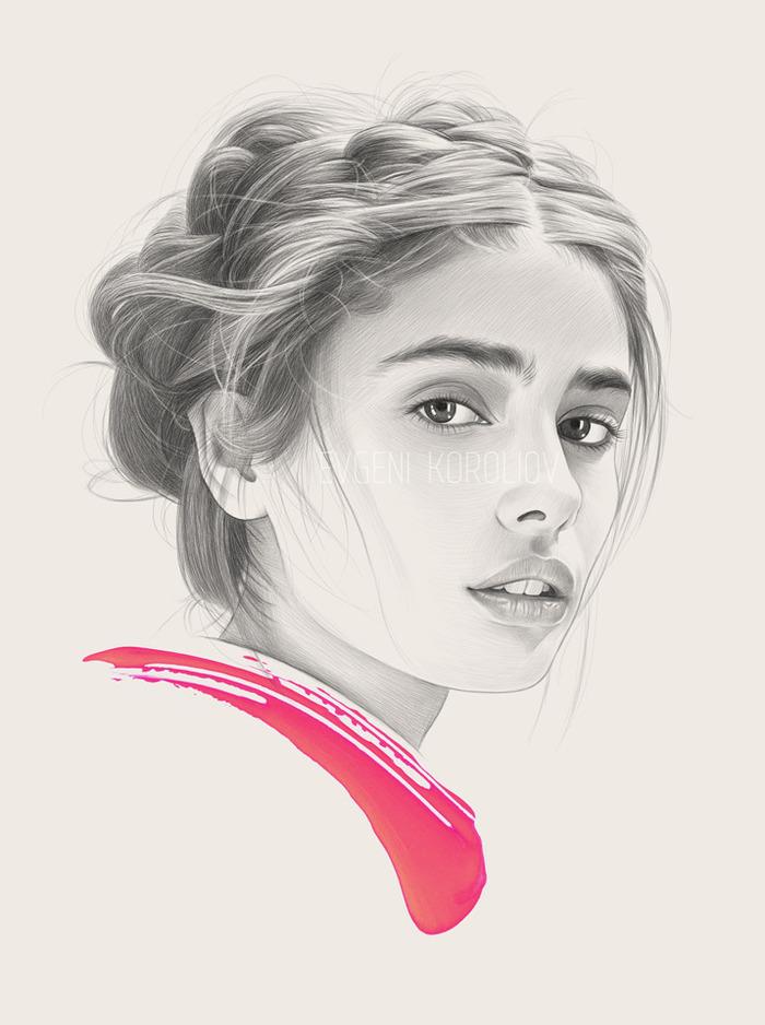 Красивые портреты Евгения Королева Sealand, Картина, Рисунок, Рисунок карандашом, Девушки, Красивая девушка, Евгений королев, Длиннопост