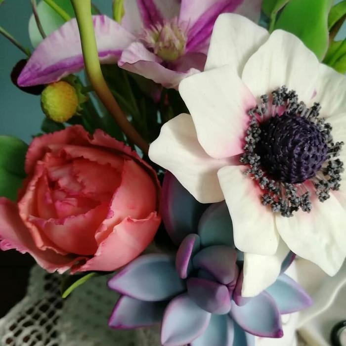 Букет из полимерной глины Пятничное, Цветы, Полимерная глина, Своими руками, Рукоделие без процесса, Длиннопост
