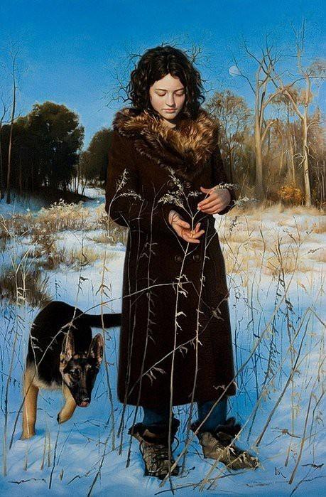 Зимняя прогулка Арт, Живопись, Красивая девушка, Собака, Зима