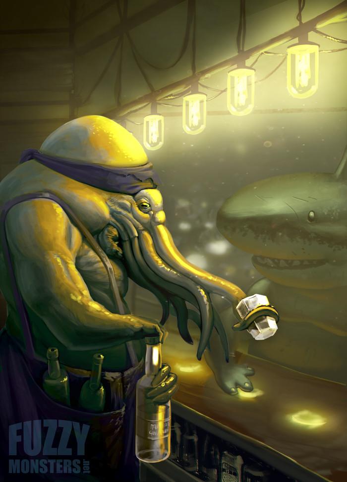 Бармен-осьминог Цифровой рисунок, Осьминог, Акула, Бармен, Бар, Антро, Под водой, Рисунок