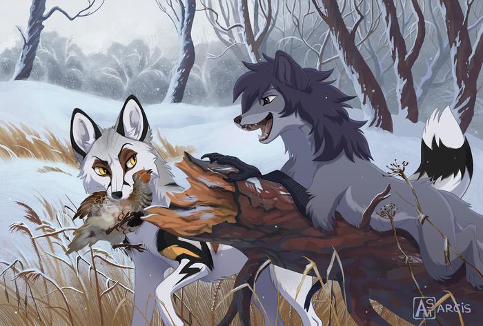 Удачная охота Furry Art, Арт, Furry feral, Hioshiru