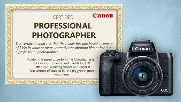 Canon выдает сертификат «профессионального фотографа» за покупку камеры от 599$ Canon, Фотограф, Сертификат, Юмор, Шутка