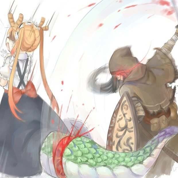 Cut The Dragon's Tail for a Special Weapon Dark Souls, Kobayashi-San chi No maidragon, Crossover, Tooru