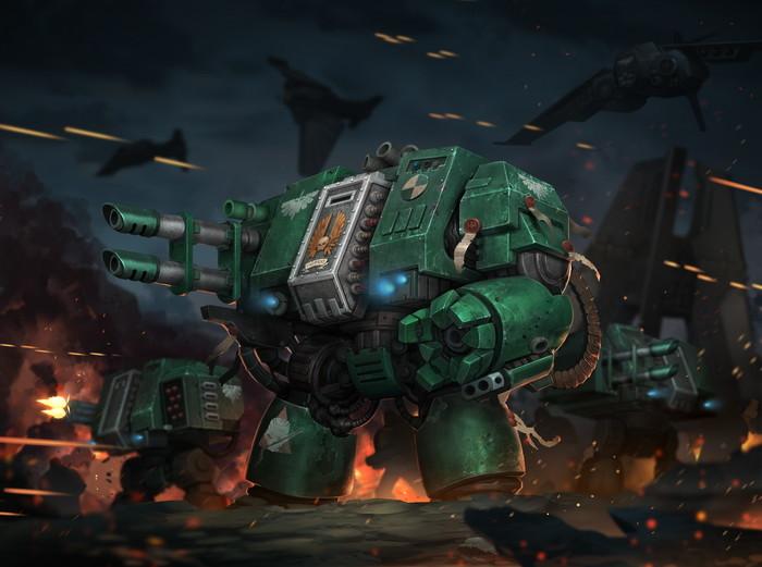 Dark Angels Dreadnoughts. Арт, Картинки, Темные ангелы, Warhammer 40k, Wh Art, Reza ilyasa