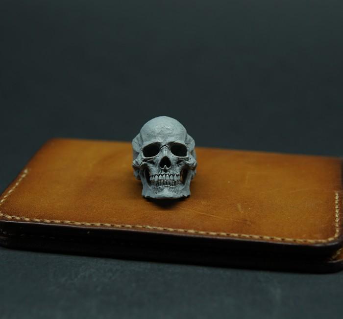 Кольцо череп. Череп, Полимерная глина, Ручная работа, Кольцо, Скульптура, Длиннопост