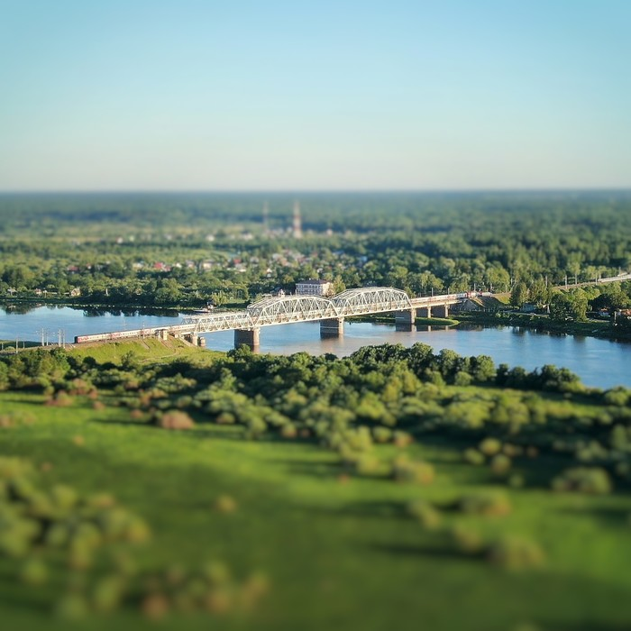 Мост через Волхов Квадрокоптер, Новгородская область, Мост, Tilt shift, DJI