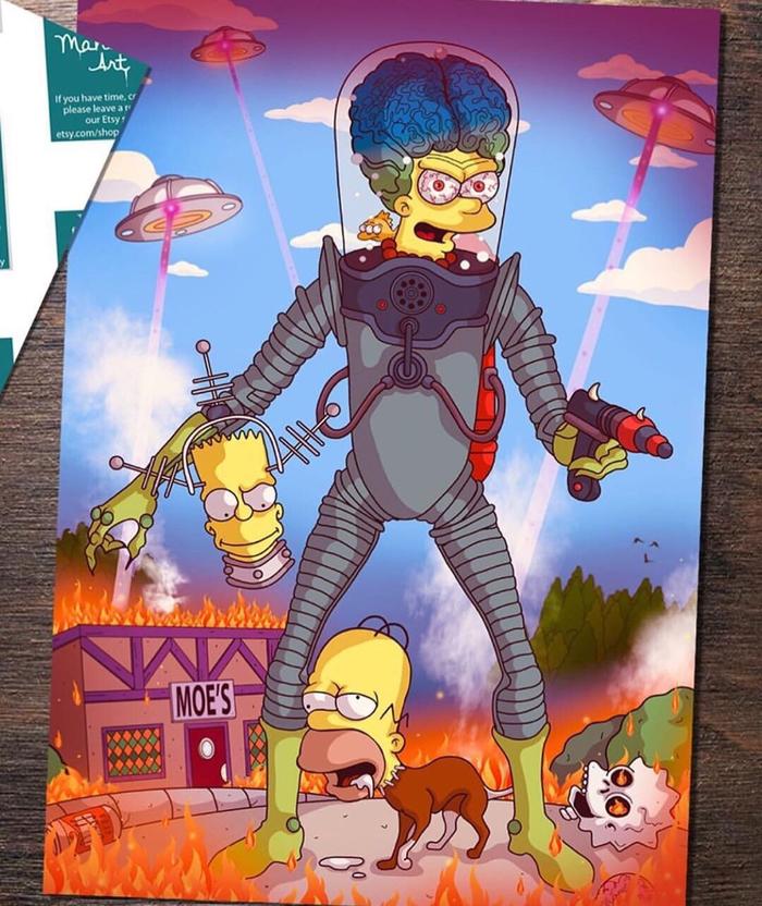 Симпсоны в ужастиках Симпсоны, Комиксы, Мультфильмы, Ужас, Ужасы, Кошмар на улице вязов, Пятница 13, Звонок, Длиннопост