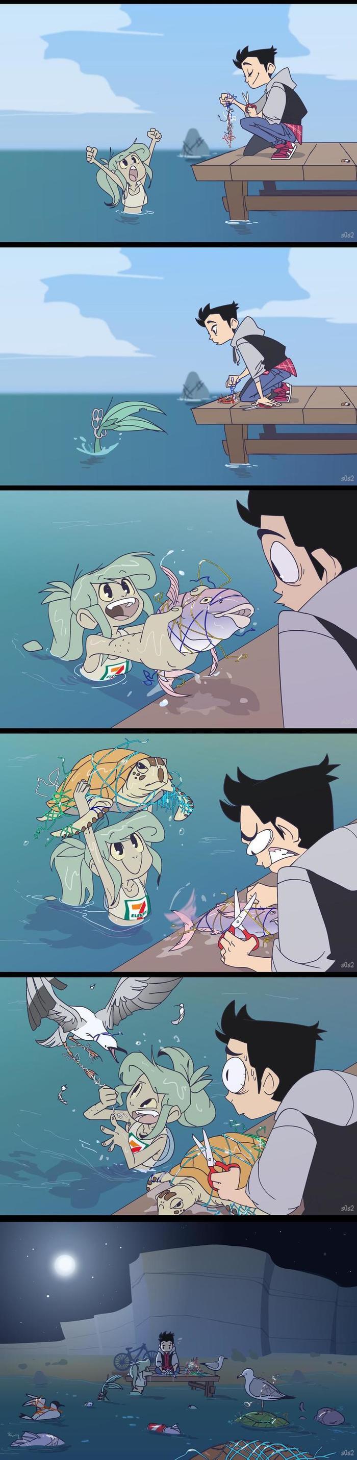Настоящий герой Русалка, S0s2, Пластик, Загрязнение океана, Комиксы, Длиннопост, A Little Trashmaid