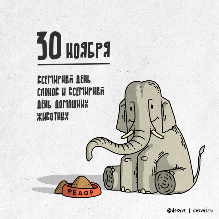 30 ноября - день слонов, день домашних животных и последний день ПроектаКалендарь2 ! Я ровно год рисовал для вас! Проекткалендарь2, Рисунок, Иллюстрации, Год, Слоны, Домашние животные