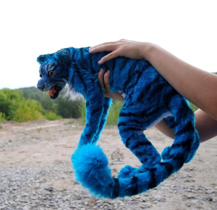 Фантастический синий тигр Тигр, Полимерная глина, Фантастический зверь, Авторская игрушка, Длиннопост