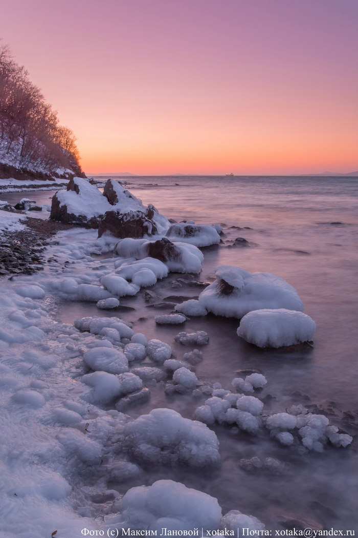 Ледяные берега Приморья Находка, Приморский край, Дальний Восток, Начинающий фотограф, Фотография, Закат, Зима, Длиннопост