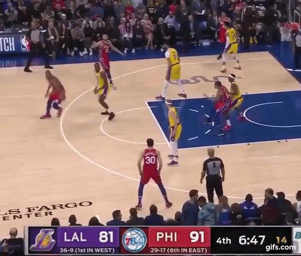 Быстрый отрыв в исполнении Леброна иКарусо Спорт, Баскетбол, NBA, Los Angeles Lakers, Lebron James, Аллей-Уп, Данк, Гифка