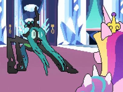 Криззи веселится My Little Pony, Queen Chrysalis, Юмор, Princess Cadance, Гифка