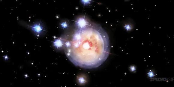 Взрыв звезды, съёмки которой велись телескопом Хаббл на протяжении четырех лет Взрыв, Вспышка, Звезда, Космос, Снимки из космоса, Телескоп Хаббл, Единорог, Созвездия, Вселенная, Видео, Гифка, Теория, Reddit
