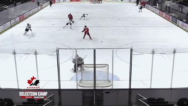 Канадцы на тренировке творят красоту Спорт, Хоккей, Сборная Канады, Молодежная сборная, Гол, Трюк, Гифка