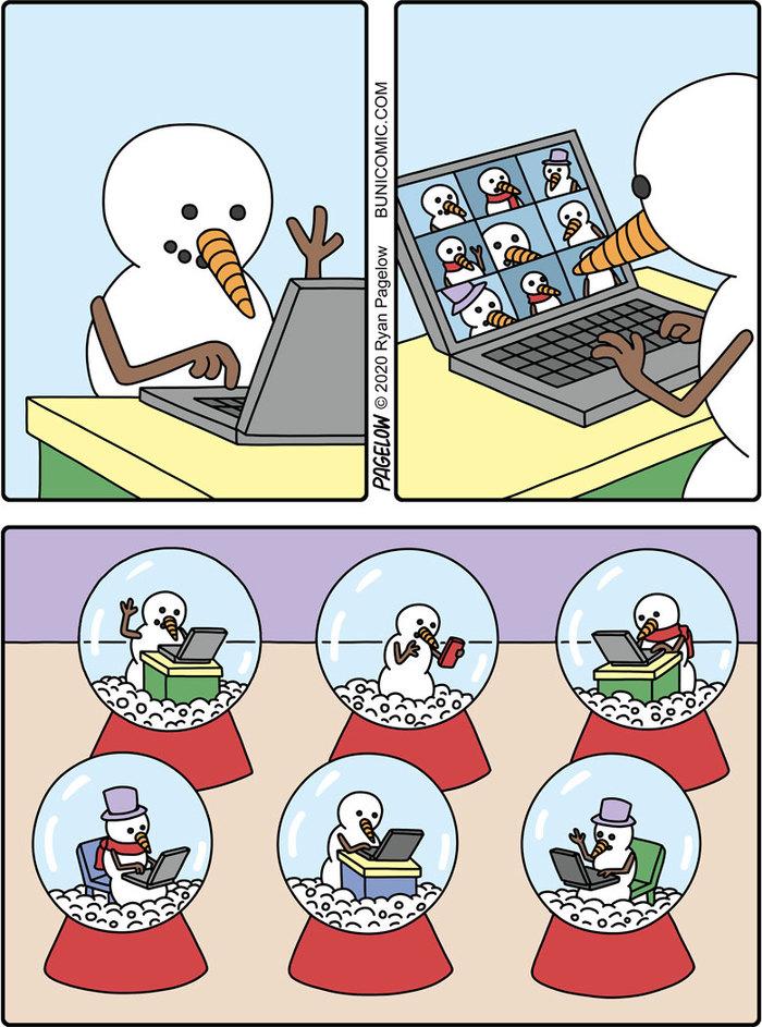Видеоконференция снеговиков