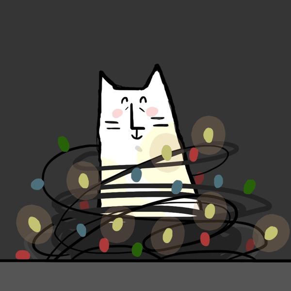 Кот, который не хочет быть котом #28 Новогодний выпуск Weird_Tanya comics, Комиксы, Авторский комикс, Кот, Юмор, Веб-комикс, Новый Год, Гирлянда, Гифка, Длиннопост