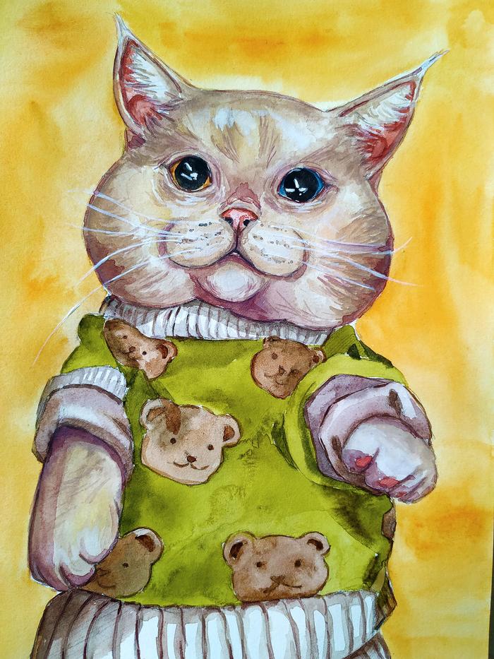 Акварельный котяш в свитере