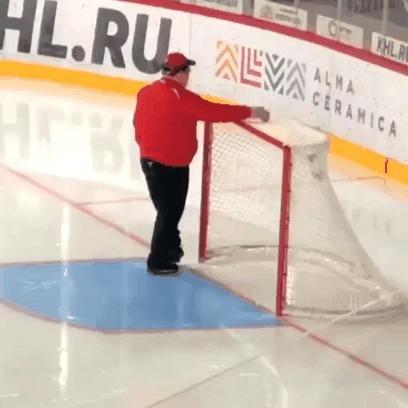 Когда действительно любишь свою работу Спорт, Хоккей, КХЛ, Ворота, Радость, Гифка